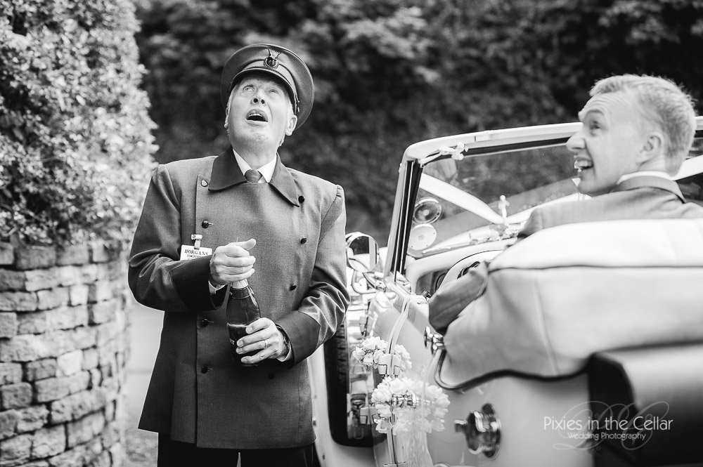 Cheshire Wedding Photographers Chauffeur Champagne