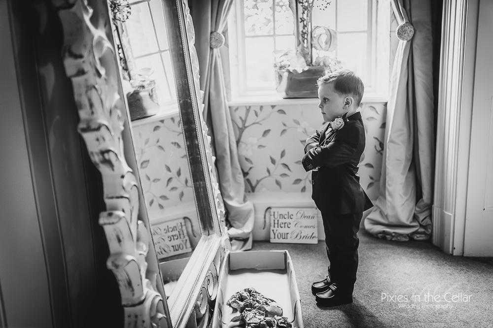 Eaves Hall Lancashire wedding page boy