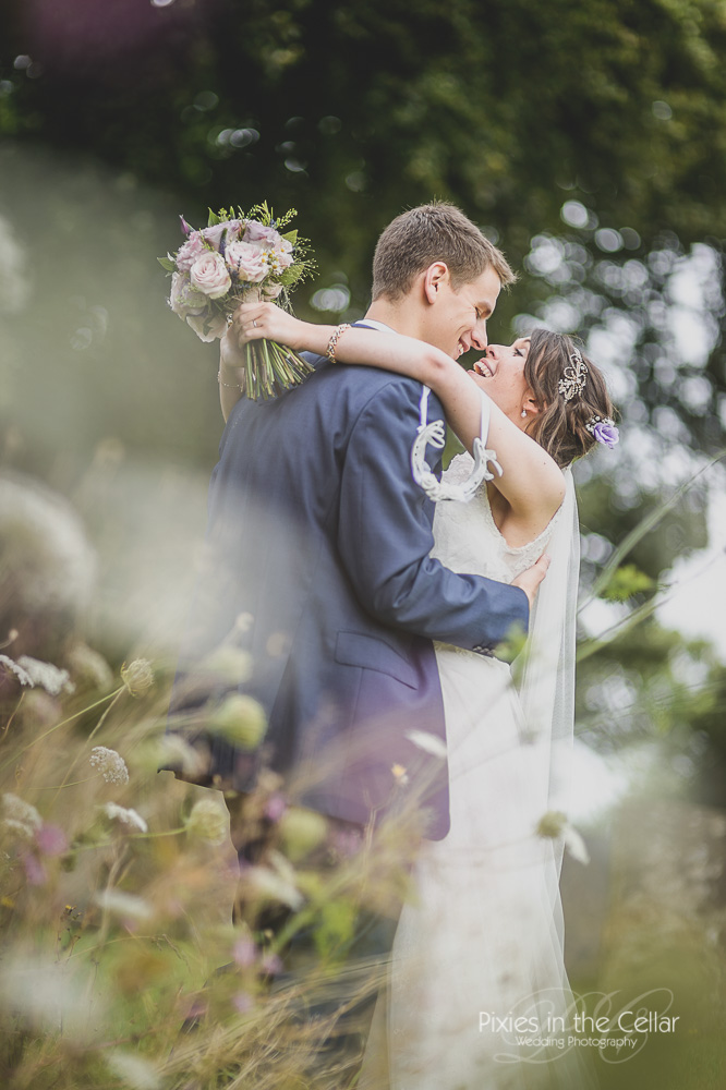 Summer countryside wedding portrait