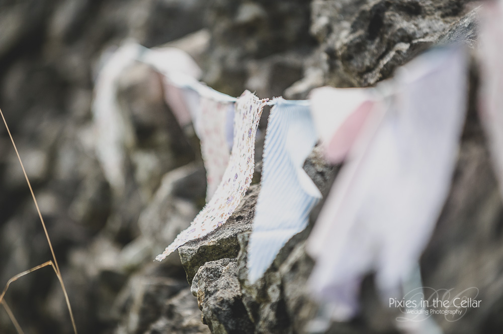 Rustic DIY wedding bunting Peak District