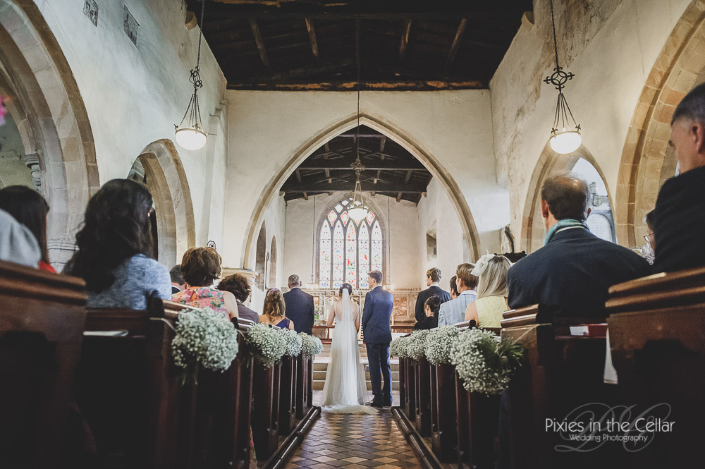 Rustic church wedding gypsophilia