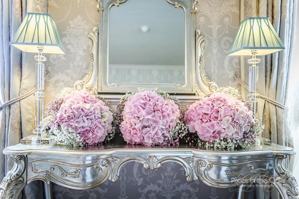gypsophila and pink hydrangea bridesmaid bouquet
