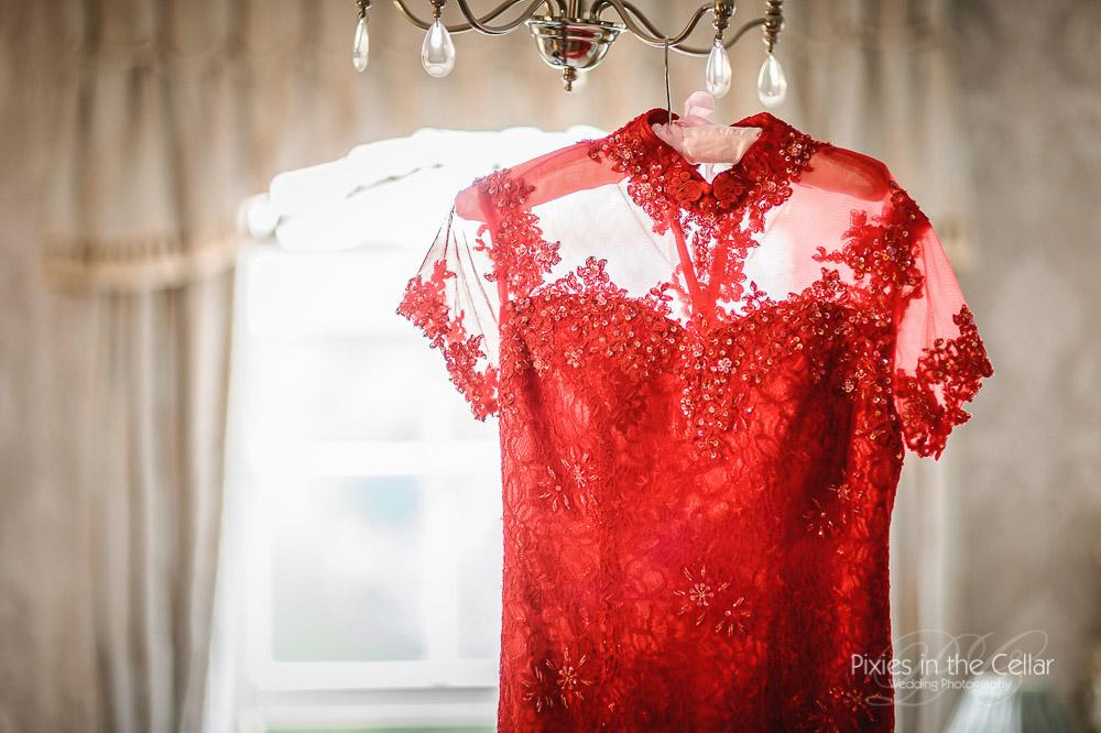 Wedding tea ceremony red dress