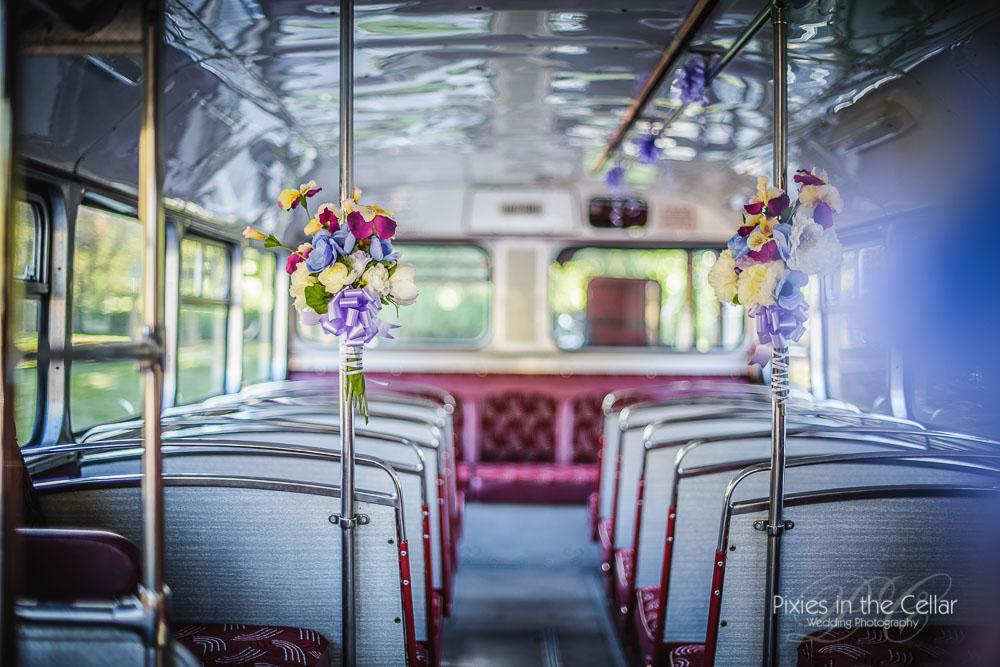 Yorkshire heritage bus purple wedding