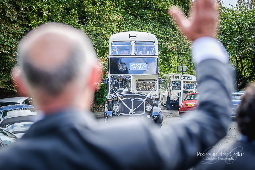 vintage bus wentbridge house wedding