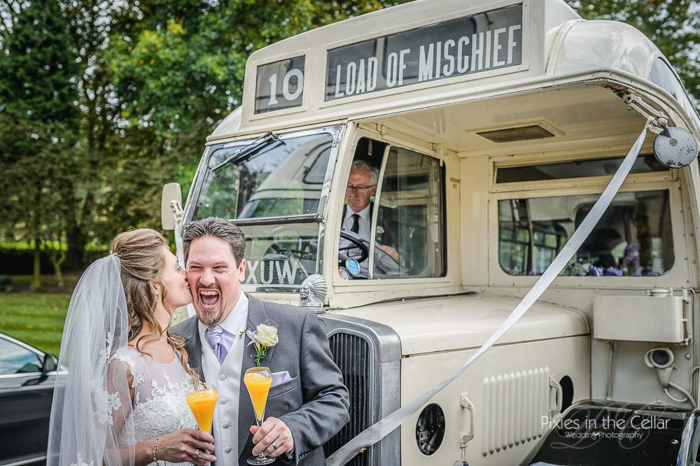 Yorkshire heritage bus wedding