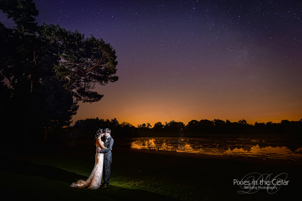 Capesthorne Hall wedding photography Cheshire night sky