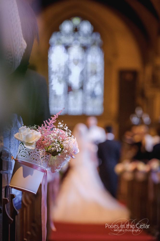 church aisle wedding bucket flowers