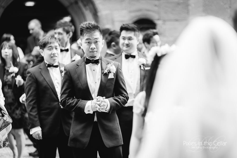 Black tie wedding guests