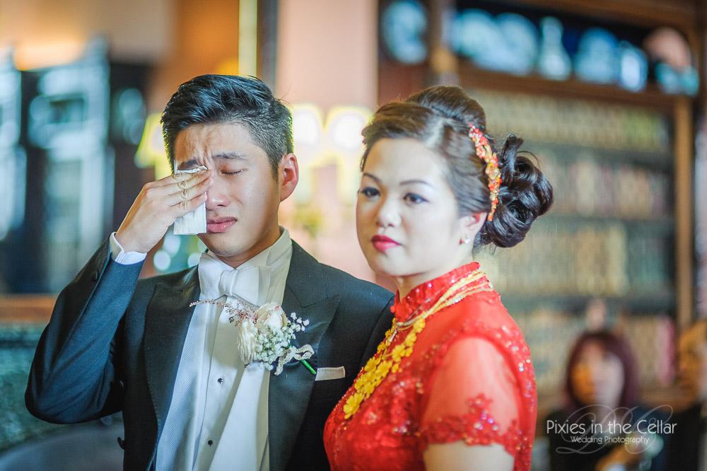 Groom tears wedding tea ceremony