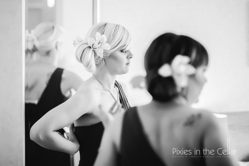 orchid bridesmaid hair
