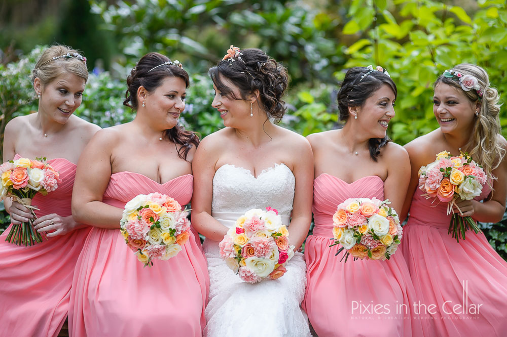 Coral bridesmaids Cheshire wedding
