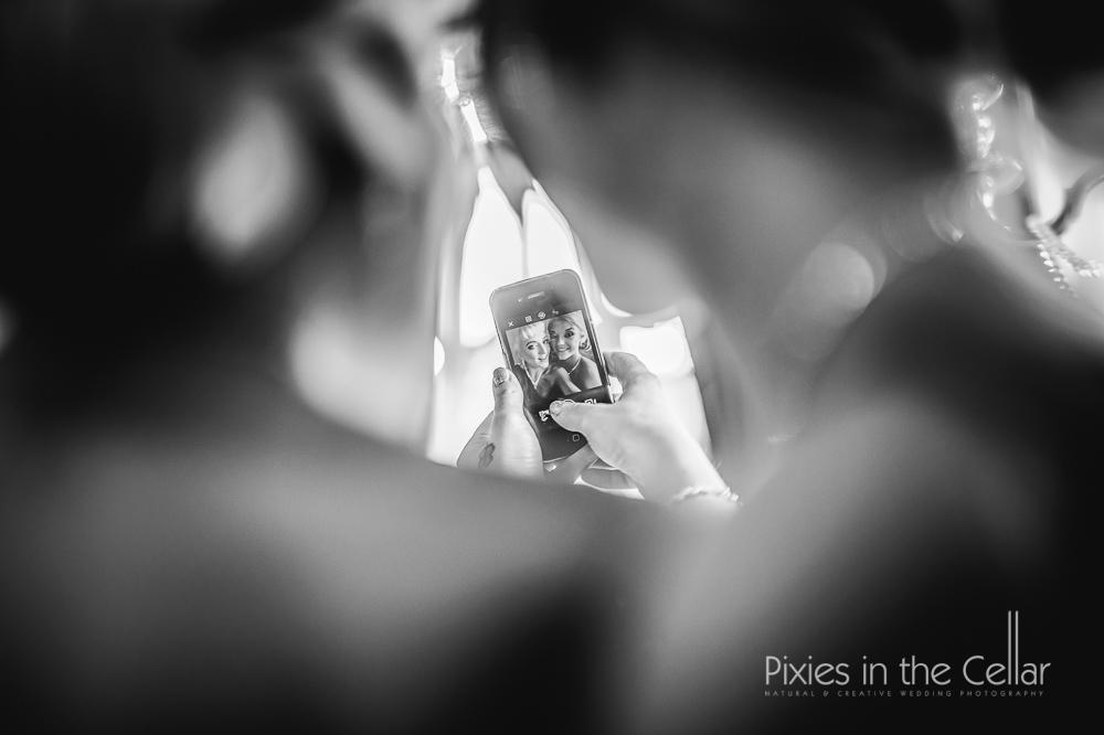 Bridesmaid wedding selfie