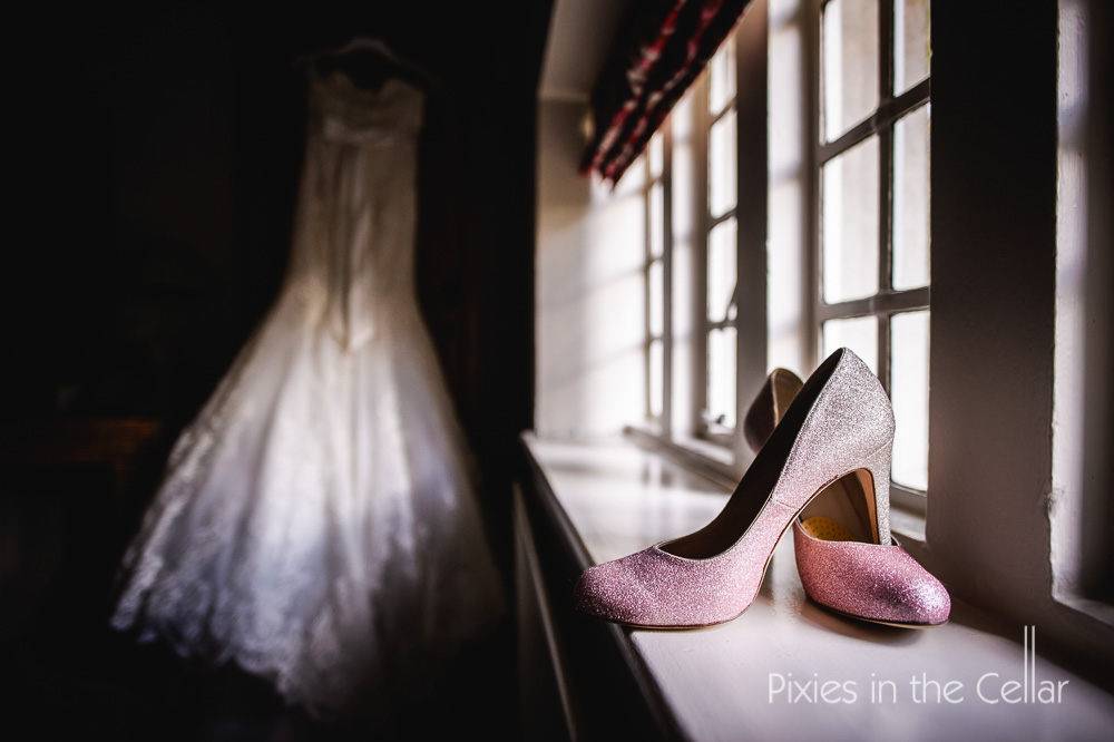 pink glittery wedding shoes