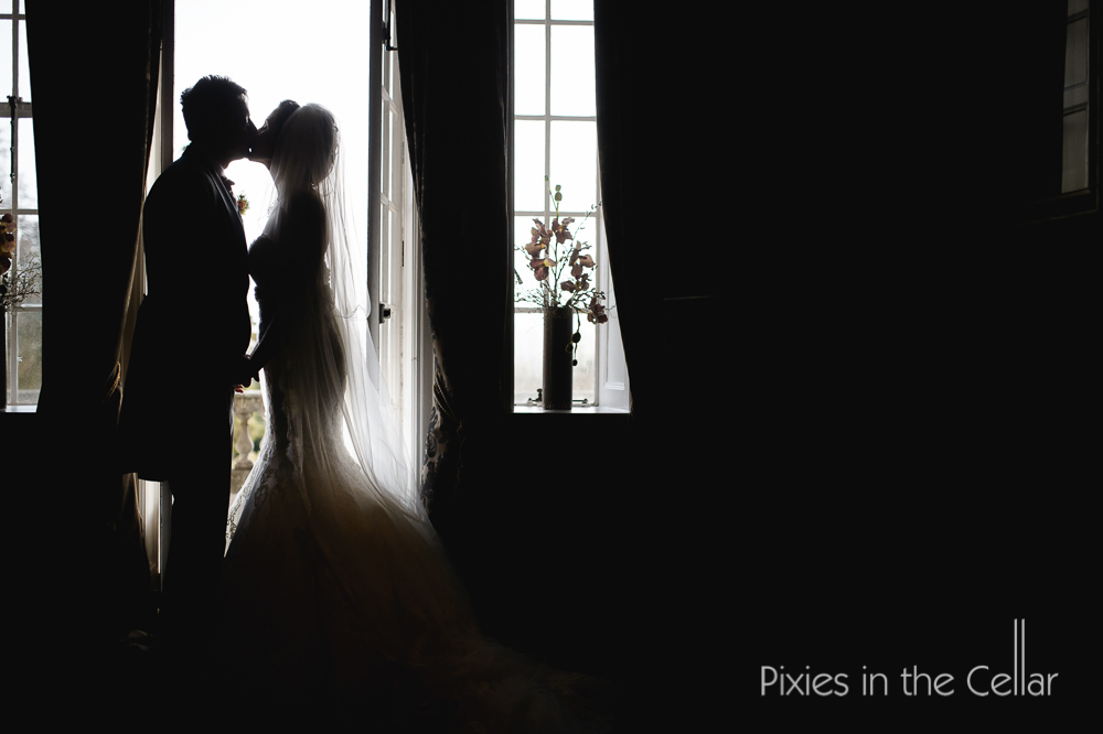 Eaves hall wedding silhouette