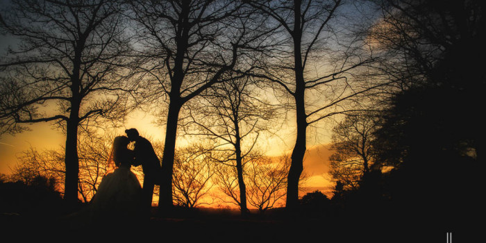 Knowsley Hall wedding sunset photo