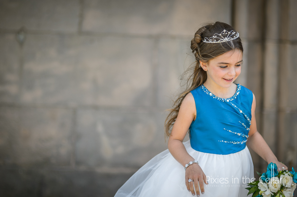 turquoise princess flower girl