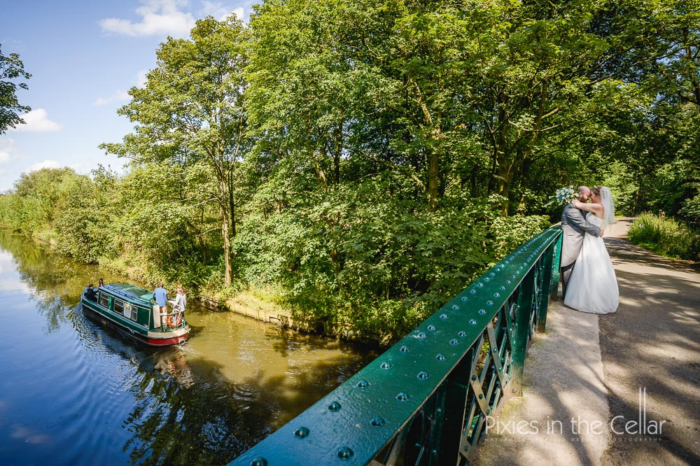 canal boat and bridge wedding photograph lancashire