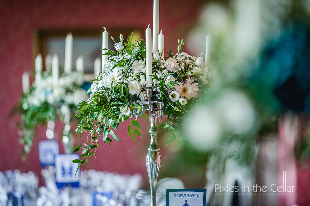 white and green flower table centres