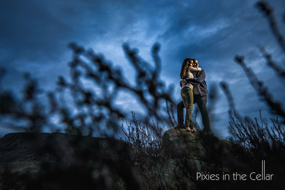 nighttime pre wedding shoot manchester