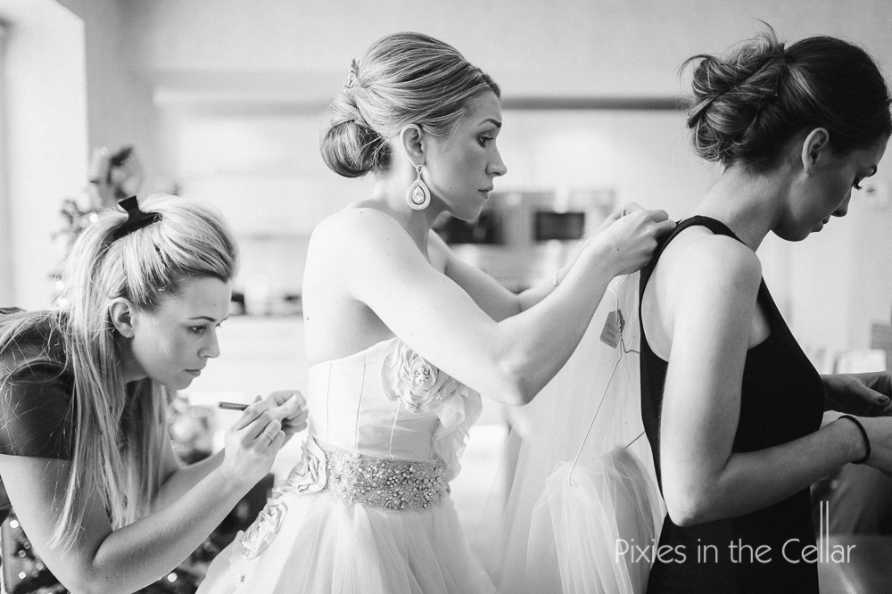 Bridal prep winter wedding