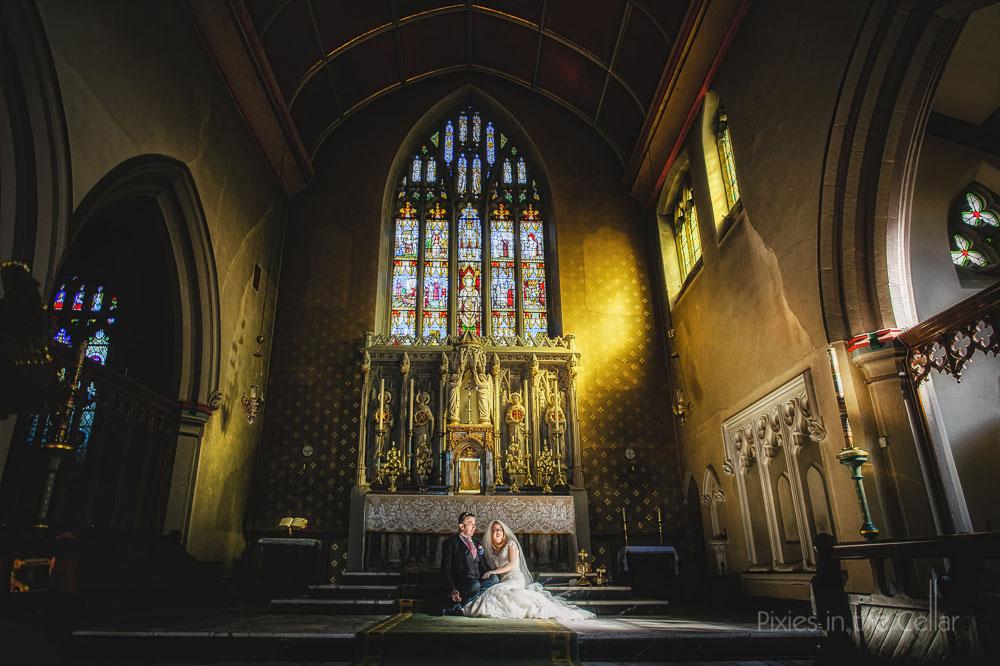 Manchester wedding church sunlight photo
