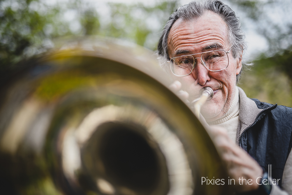 Man playing horn Eddie Matthews