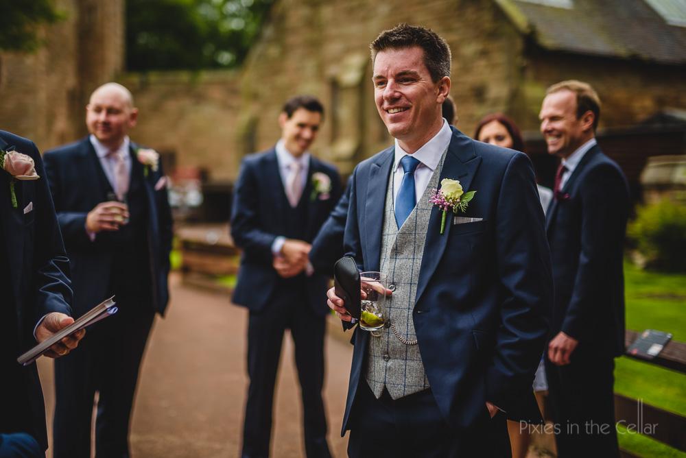 peckforton castle groom tweed waistcoat