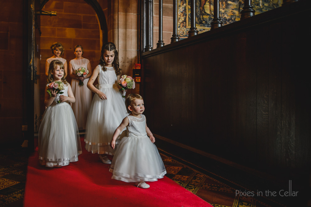 peckforton castle wedding photography flowergirls