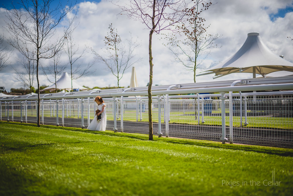 Chester racecourse wedding flowergirl