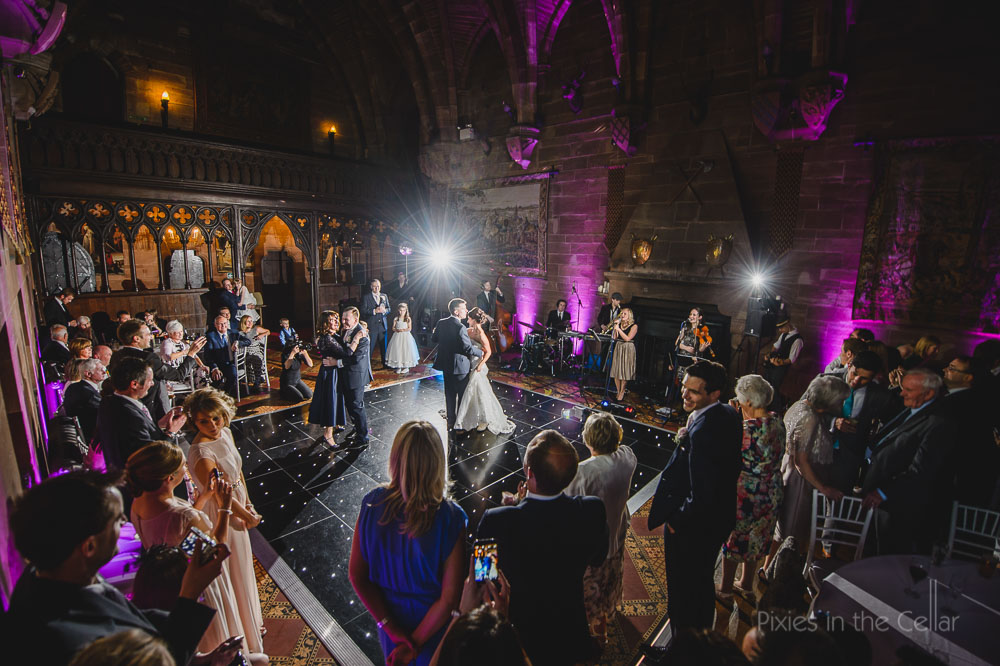 Peckforton castle wedding band strings attached