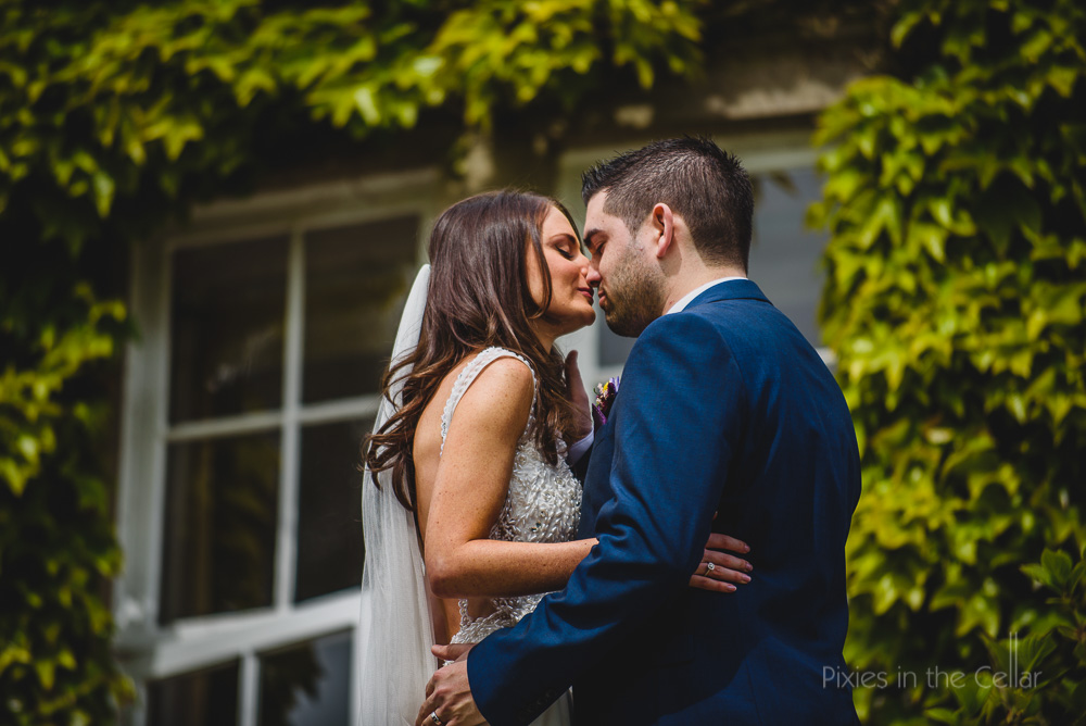 Hilltop Country House Wedding first kiss