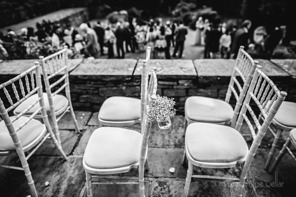 Chivari chairs and gypsophila Hilltop Country House Wedding