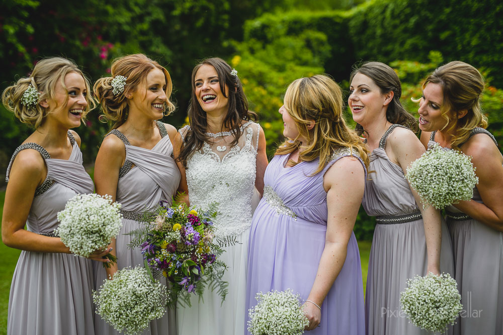 bride and bridesmaids English wedding