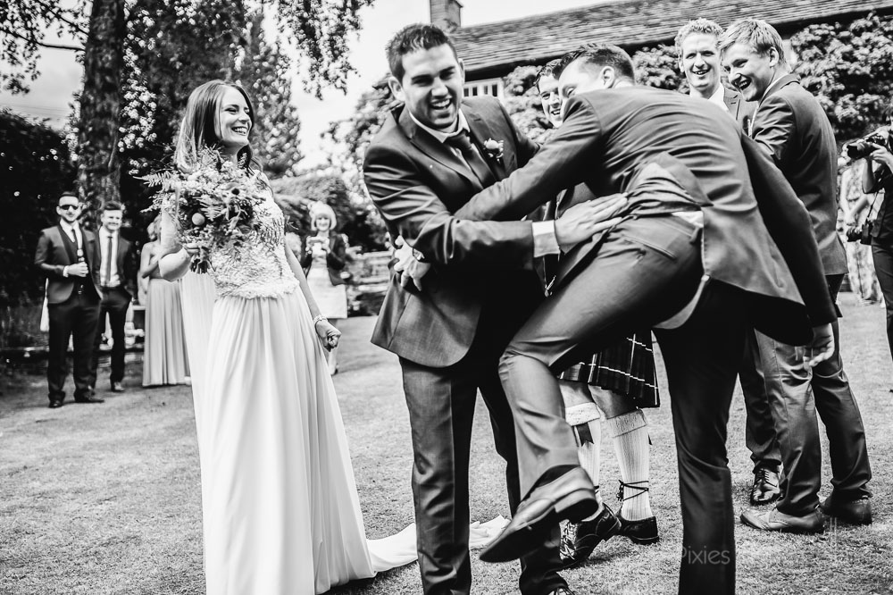 wedding groomsmen ripped trousers
