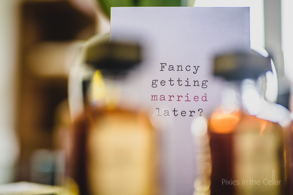 Natural documentary wedding photography card and whisky