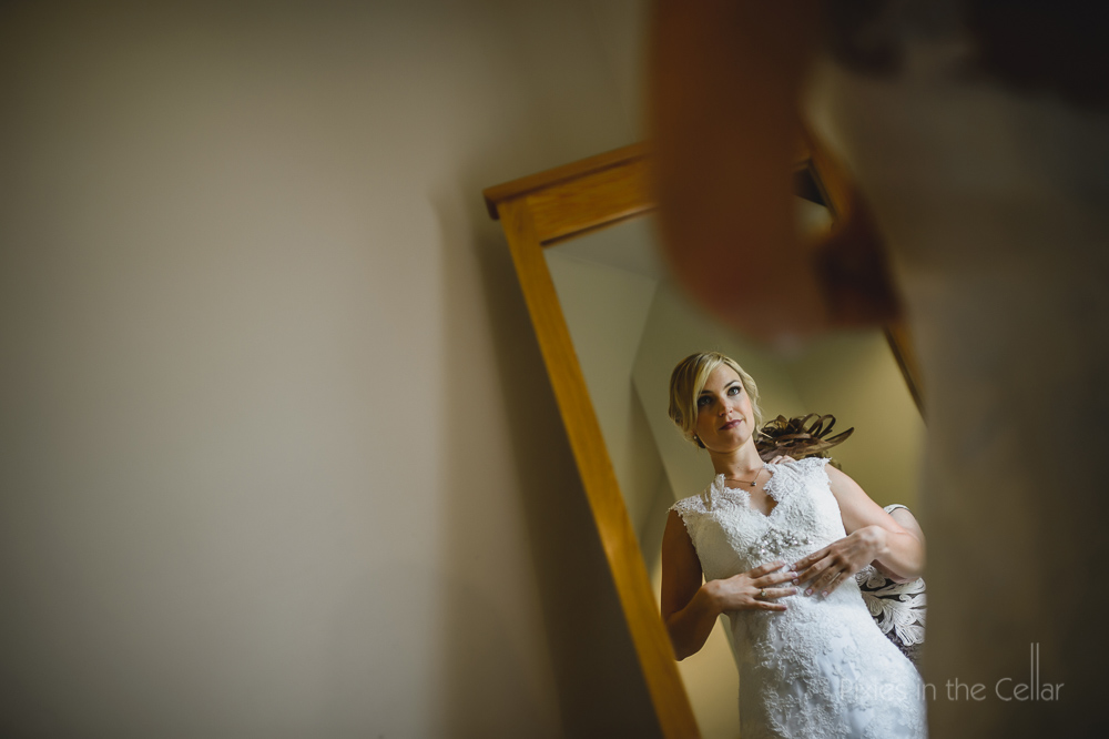 bride in mirror