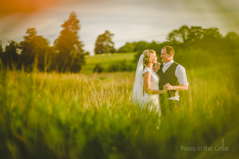Evening light bride groom