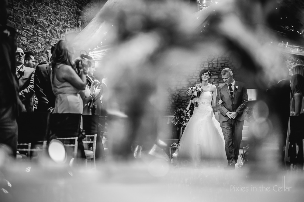 bride and dad Tithe Barn Wedding