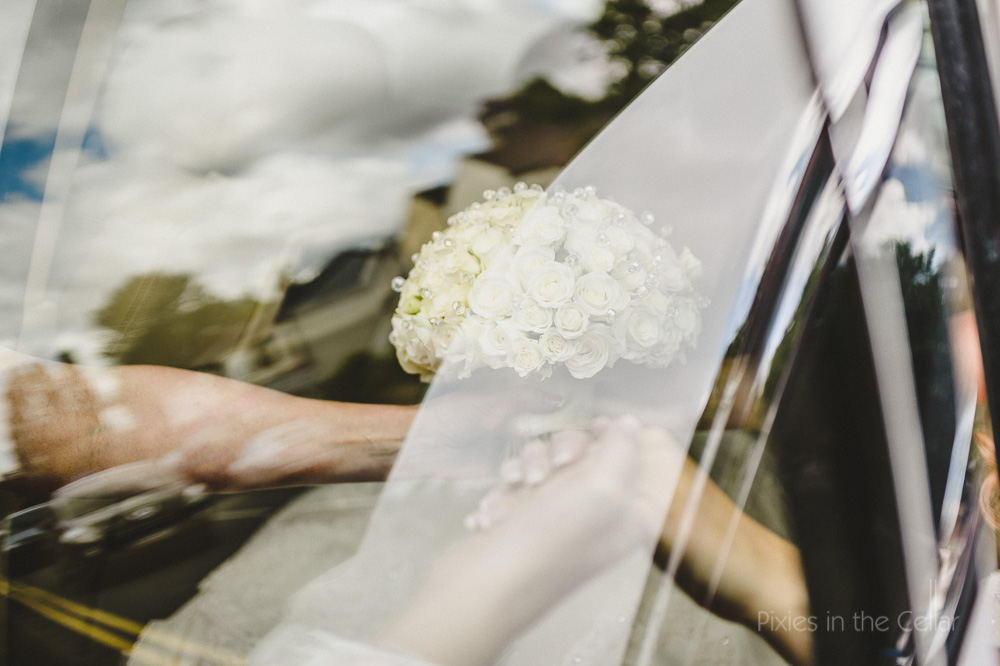 white wedding bouquet reflection