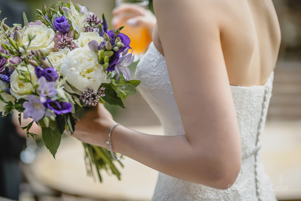 purple and white wedding flowers