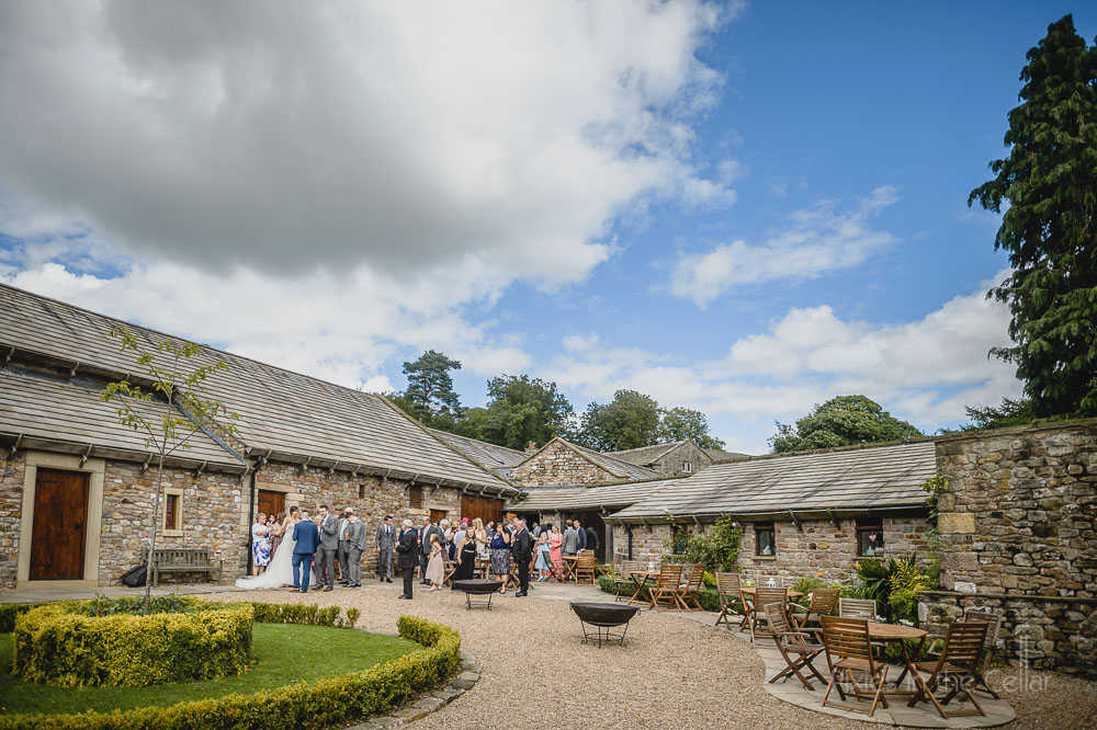 Browsholme Hall Tithe Barn courtyard wedding reception