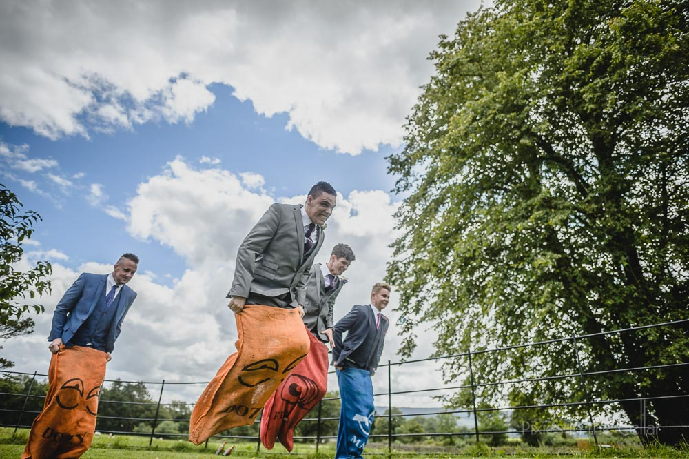 wedding sack race