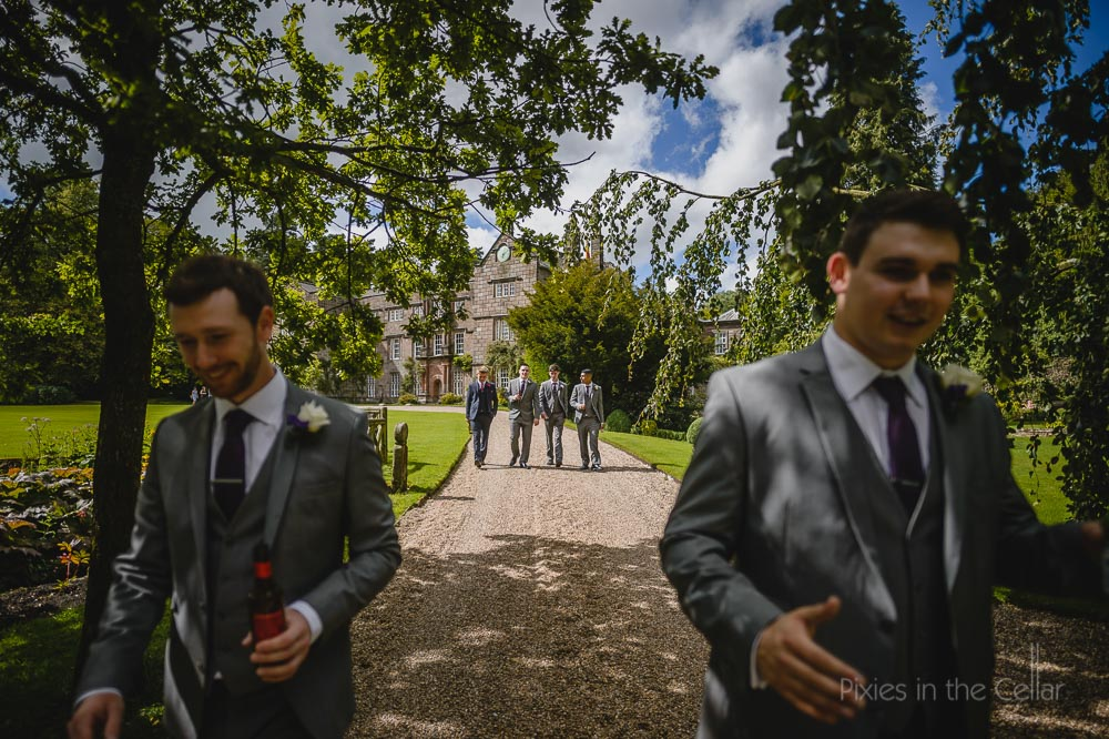 walking groomsmen at Browsholme Hall