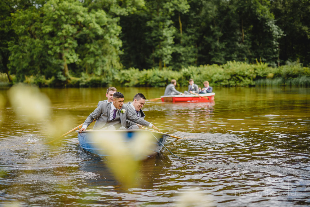 Groomsmen in Browsholme Hall lake