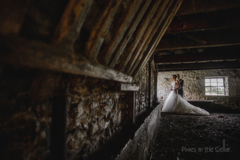 Barn Wedding bride groom portrait