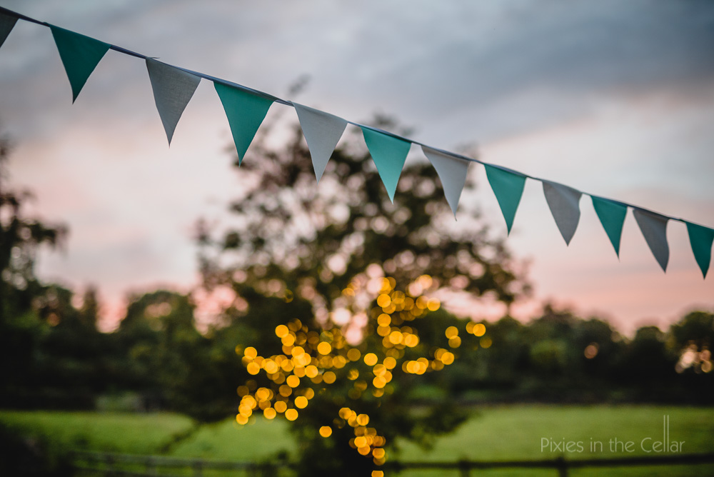 turquoise and white bunting
