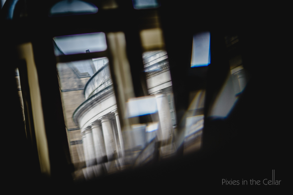 Manchester central library through window