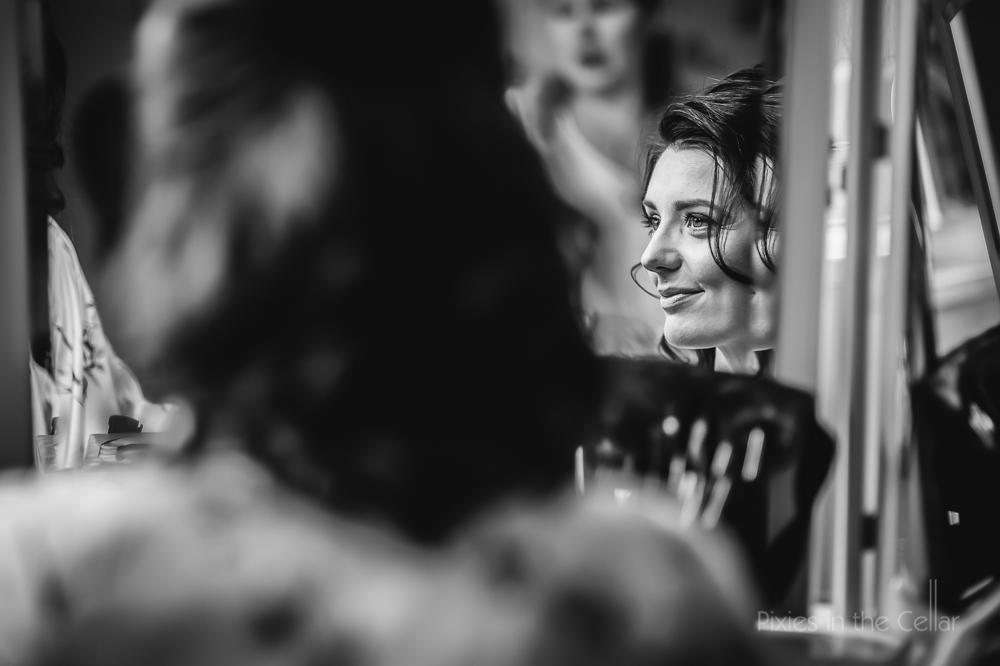 bride reflections in mirror
