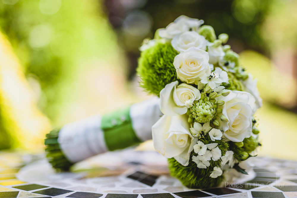green and white flowers wedding bouquet